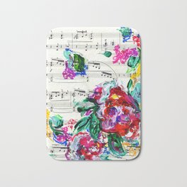 Musical Beauty - Floral Abstract - Piano Notes Bath Mat
