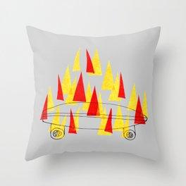 Flaming Skateboard Throw Pillow