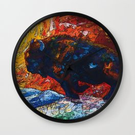Bison Running print of OLena Art Wild the Storm Oil Painting With Palette Knife #society6 Wall Clock