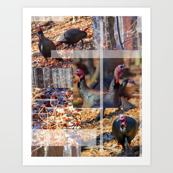 Turkeys In The Woods  Art Print