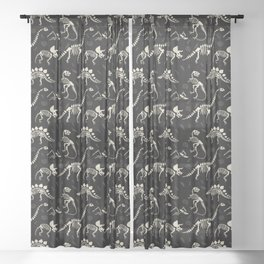 Dinosaur Fossils on Black Sheer Curtain