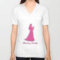 sleeping beauty V-neck T-shirts featuring Sleeping Beauty by husavendaczek