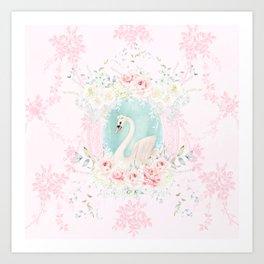 Romantic Swan Art Print
