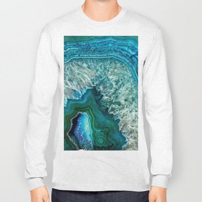 Aqua turquoise agate mineral gem stone Long Sleeve T-shirt
