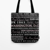 jfk Tote Bags featuring JFK  by Steph Snyder