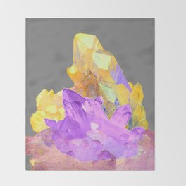 BOHO YELLOW & PURPLE QUARTZ CRYSTALS GREY ART Throw Blanket