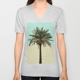 Palm Tree on Cyan and Lemon Unisex V-Neck