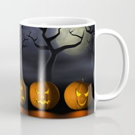 Row of Halloween pumpkins in a spooky forest at night Coffee Mug