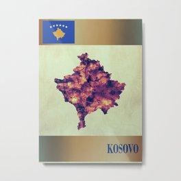 Kosovo Map with Flag Metal Print