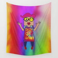yoga Wall Tapestries featuring YOGA by Riot Clothing