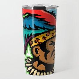 Zulu Warrior Head Mascot Travel Mug