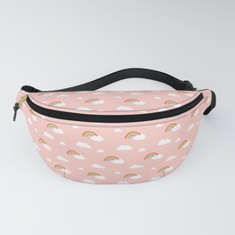 Little Rainbows and Clouds on Coral Pink pattern Fanny Pack