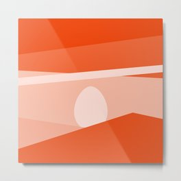 Minimalist orange abstract background with eggs Metal Print