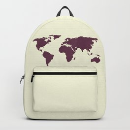 World Map -  Crimson Red on Cream Linen Backpack