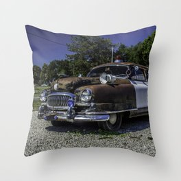 Classic Nash Petrol Car Along Route 66 ion Missouri Throw Pillow