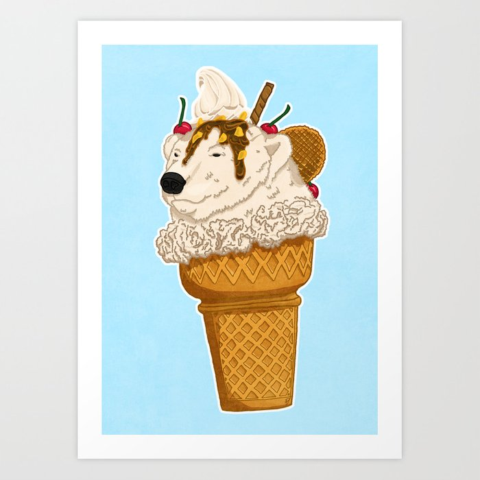 Polar Bear Ice Cream Art Print