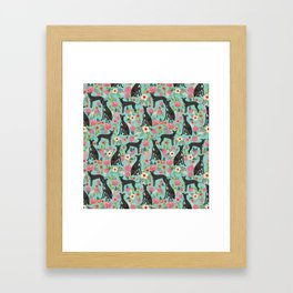 Italian Greyhound pet friendly pet portraits dog art custom dog breeds floral dog pattern Framed Art Print