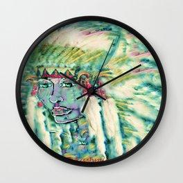 Blue green Indian Maiden headress by ladykashmir Wall Clock