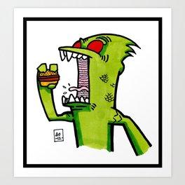kid komodo vs burger Art Print