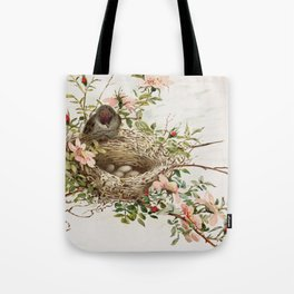 Vintage Bird with Eggs in Nest Tote Bag