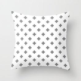 Light Grey Swiss Cross Pattern Throw Pillow