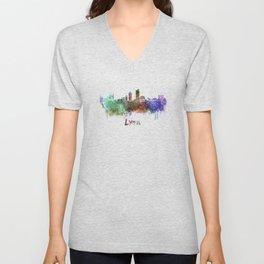 Lyon skyline in watercolor Unisex V-Neck