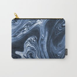 Ren - indigo ink india ink marble pattern texture art print cell phone case with marble blue joy Carry-All Pouch