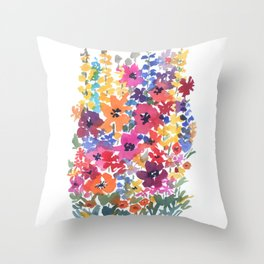 Bright Summer Garden Throw Pillow