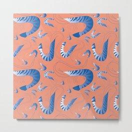 Blue Riviera Prawns Metal Print