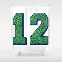 seahawks Shower Curtains featuring Go Hawks 12 by Nuart Media Group