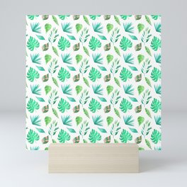 Tropical watercolor leaves in a seamless pattern Mini Art Print