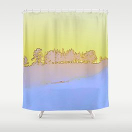 Grove of trees in periwinkle and lemon Shower Curtain