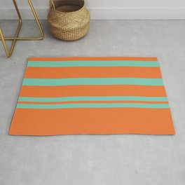 Cyan and Orange Stripes Minimalist Color Block Pattern Rug