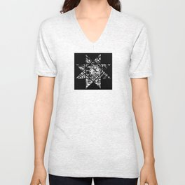 Star Of 8 - Black and white abstract, textured star design Unisex V-Neck