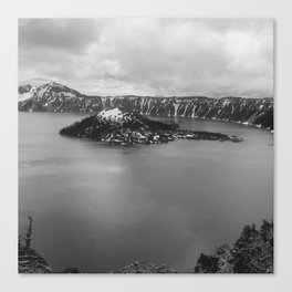 Mountain Lake View B&W Canvas Print