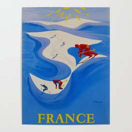 Vintage Winter Sports in France Travel Poster