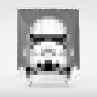 8 bit Shower Curtains featuring Stormtrooper 8-Bit by Spades