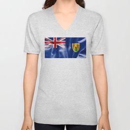 Turks and Caicos Islands Flag Unisex V-Neck