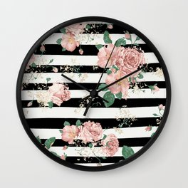 VINTAGE FLORAL ROSES BLACK AND WHITE STRIPES Wall Clock