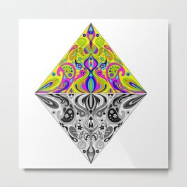 Reflection Triangle Mandala Metal Print