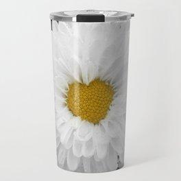 White chrysanthemum flower in full bloom with heart shaped center. Travel Mug