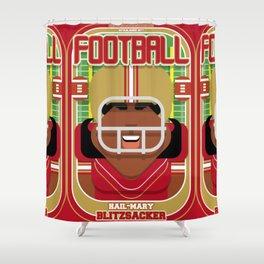 American Football Red and Gold - Hail-Mary Blitzsacker - Aretha version Shower Curtain