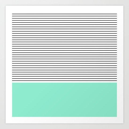 Minimal Mint Stripes Art Print