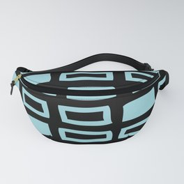 Mid Century Modern Abstract Squares Pattern 541 Black and Light Blue Fanny Pack