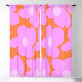 Pastel Pink Retro Flowers Orange Background #decor #society6 #buyart Blackout Curtain