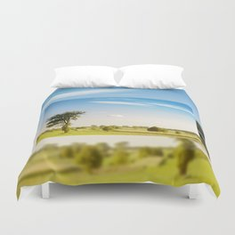 Rural grassland trees view Duvet Cover