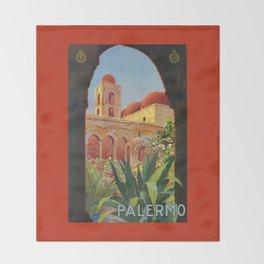 vintage 1920s Palermo Sicily Italian travel ad Throw Blanket