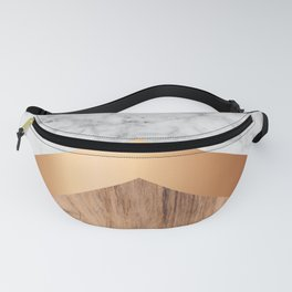 Stone Arrow Pattern - White Marble, Rose Gold & Wood #924 Fanny Pack