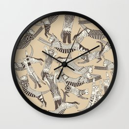cat party beige natural Wall Clock