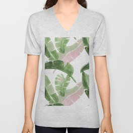 Tropical Leaves Green And Pink Unisex V-Neck